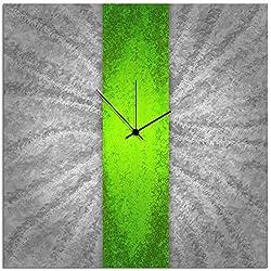 Metal Art Studio Clock Contemporary Decor, Large, Green Stripe