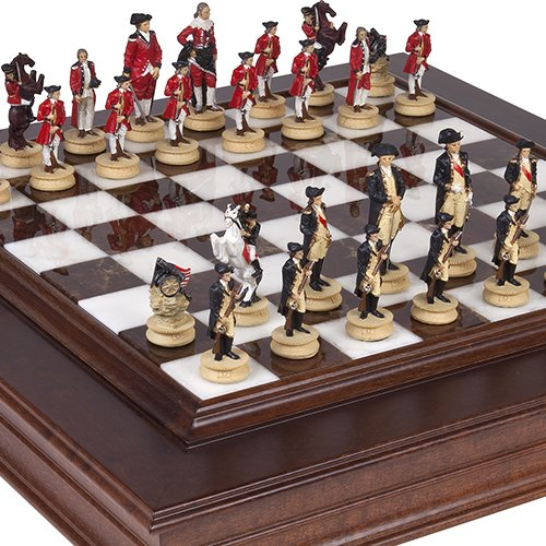 (American Revolutionary War of Independence Chessmen & Alabastro Luxury Chess Board/Cabinet from Italy.)