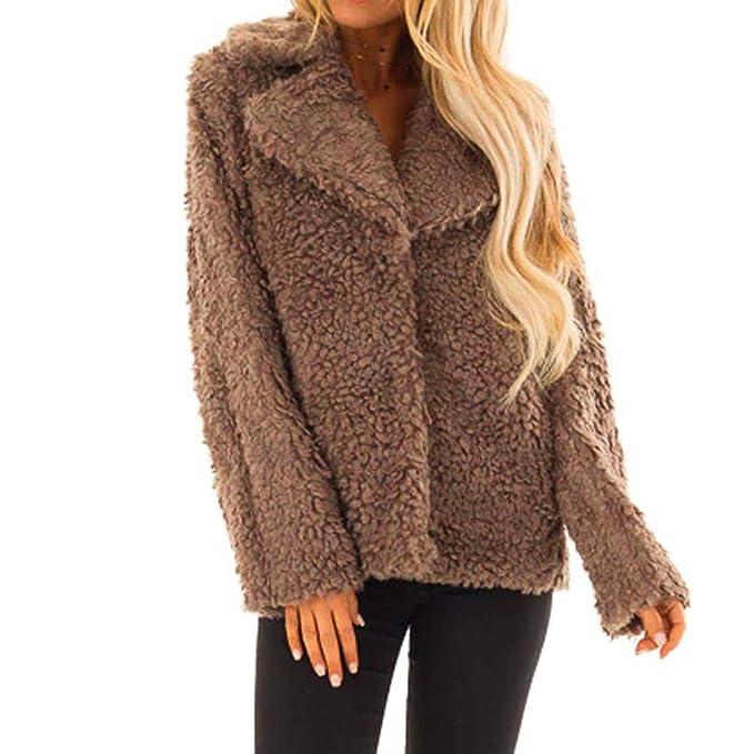 Amazon.com: Women Button Coat Fluffy Loose Sweater Short ...