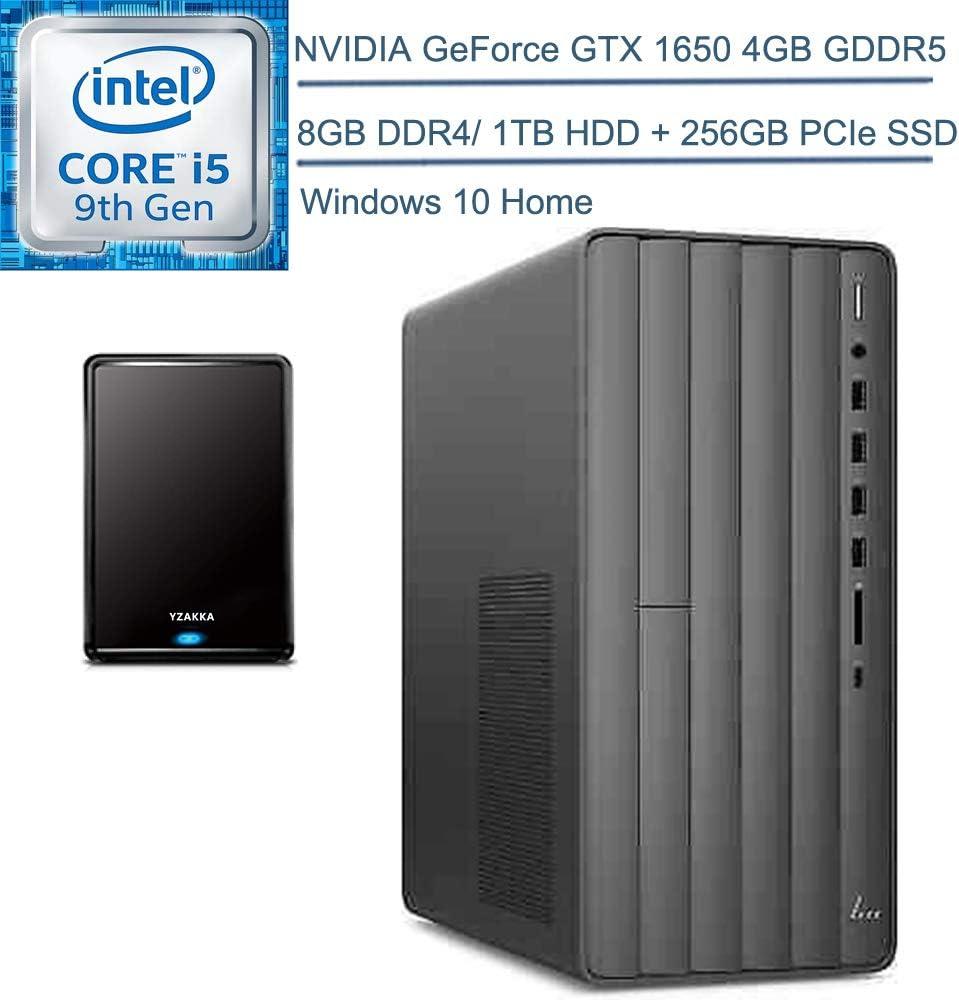 2020 HP Envy TE01 Desktop Computer/ 9th Gen Intel Hexa-Core i5-9400 up to 4.1GHz/ 8GB DDR4/ 1TB HDD + 256GB PCIe SSD/DVDRW/GeForce GTX 1650 4GB/ Windows 10 + YZAKKA 320GB External Hard Drive