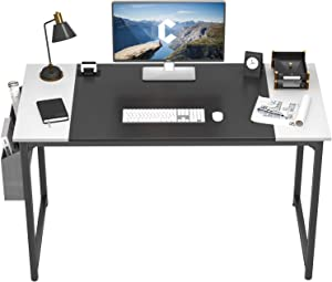 Cubiker Computer Desk 63 Inch Home Office Writing Desk Student Study Desk with Small Table and Storage Bag, White