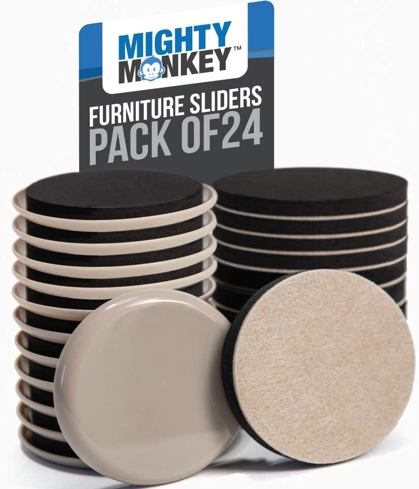 MIGHTY MONKEY Premium Furniture Sliders, 24 Piece, Carpet and Hard Floor Surfaces Moving Kit, Felt Coaster Pads, Pad Sliders Help to Easily Move Couches, Sofa and Protect Floors from Heavy Furniture
