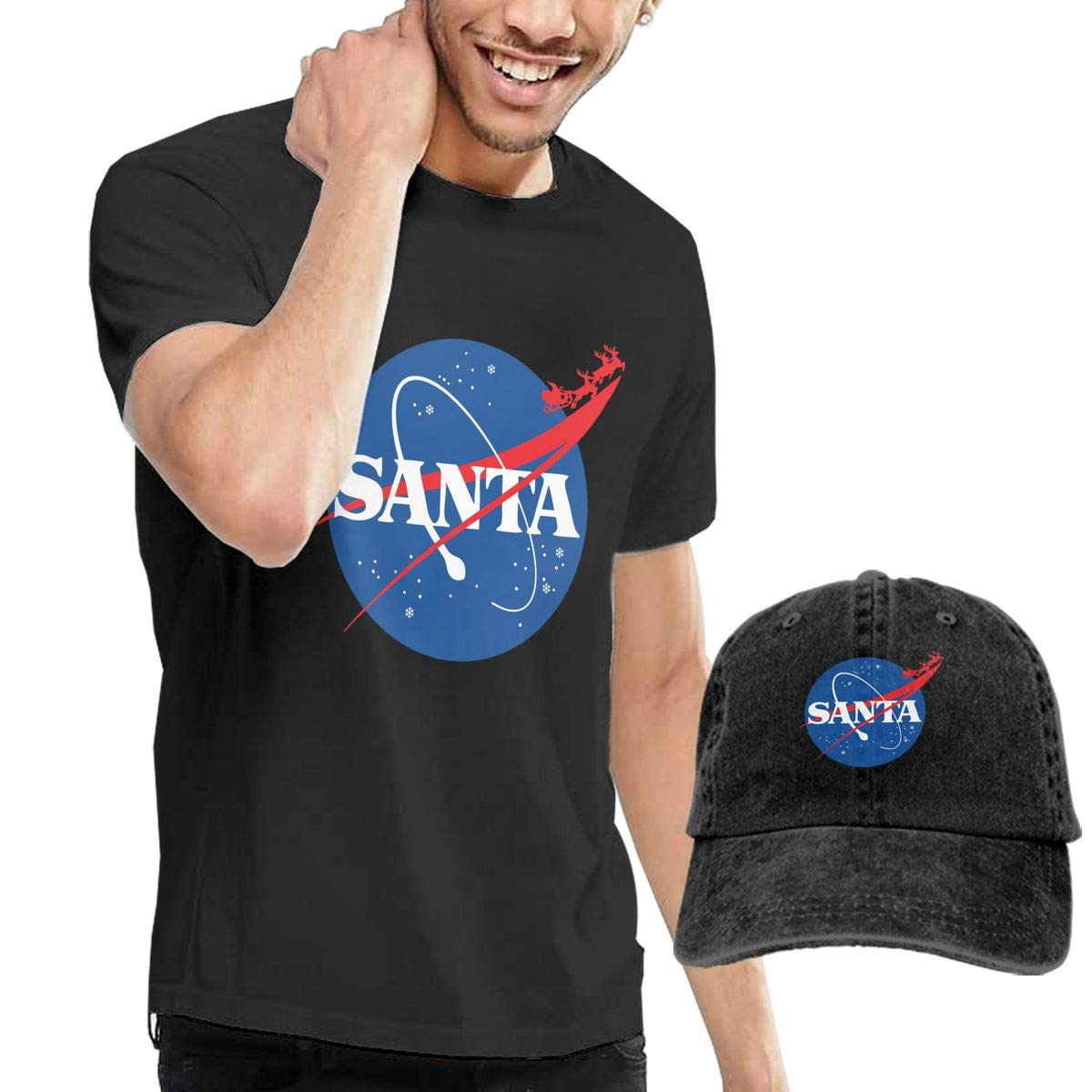 WWTBBJ-B Santa Funny Christmas Adult Mens Summertime T Shirts and Sports Jean Hat