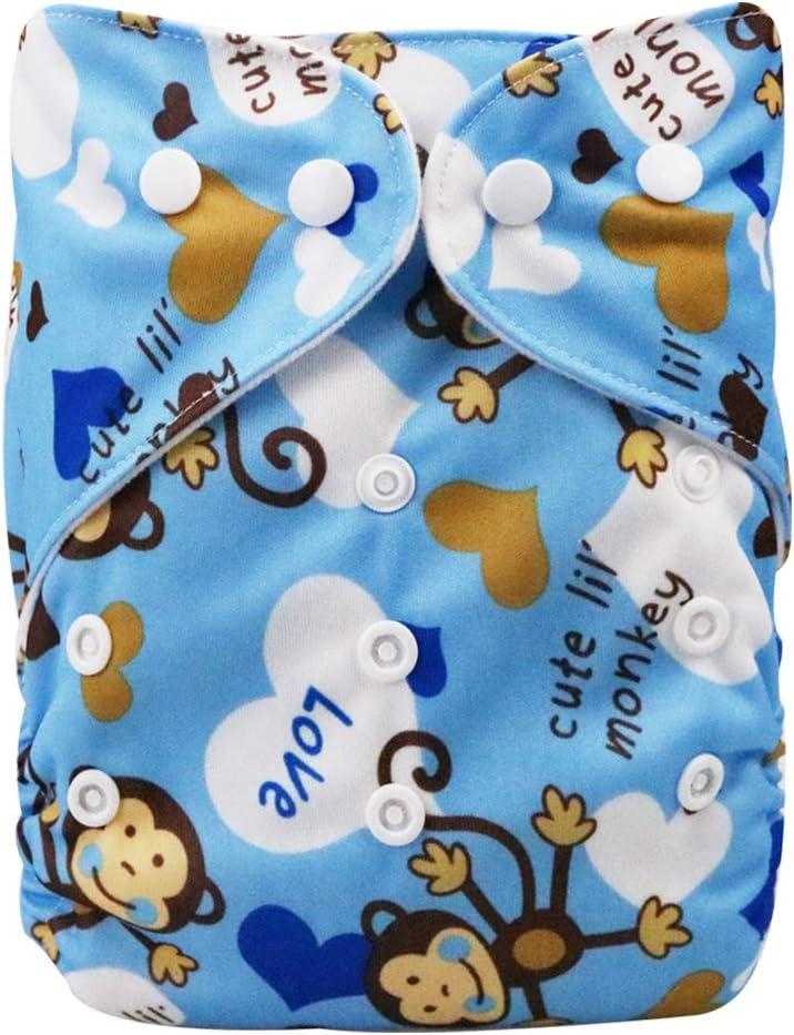 DEBAIJIA B/éb/é Couches Pantalon Culotte Couverture de Bande Dessin/ée Impression R/églables R/éutilisable Double Ouverture Lavable Respirant Imperm/éable pour 0-3 Ans Nouveau-n/é Bambin 1 PCS