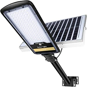 200W Solar Street Lights Outdoor Lamp, 96pcs HB-LEDs 8000lm IP67 Light with Remote Control Mounting Pole and Bracket, Dusk to Dawn Security Led Flood Light for Garden, Street, Court, Parking Lot