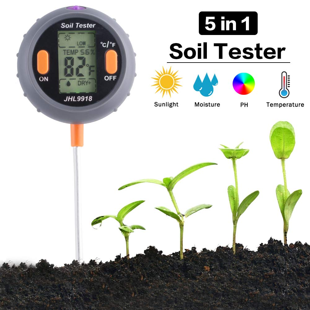 LYCSIX66 Soil Test Kit 5-in-1 Soil pH Tester Electronic Soil Thermometer Light Moisture & Humidity Meter for Houseplants, Outdoor Lawn and Gardening Plants (Gray)