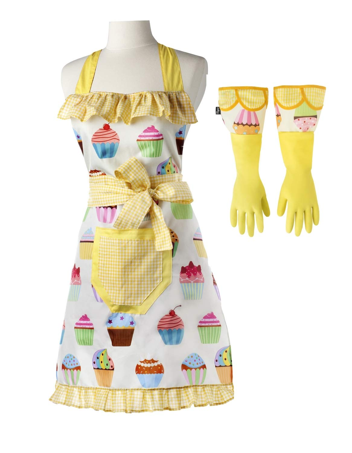 Vigar Lulu Housewife Apron and Dish Glove Set, Waterproof Machine Washable Cupcake Patterned Apron and Latex Gloves with Extra-Long Cuff