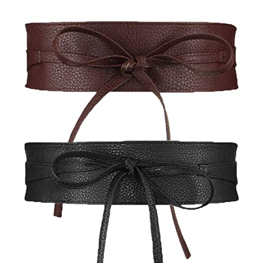 Womtop Womens Belts PU Leather Obi Waist Belt Adjustable Length Waist Strap  Cummerbund for Dress ( d86a97d43