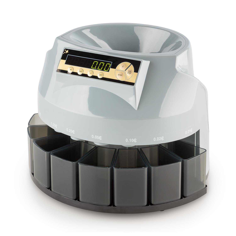 oneConcept Soros Contamonete Ripartitore Macchina per conteggio Monete (fino a 216 monete al minuto, funzione impilaggio, display digitale, 8 contenitori) KW3-Soros