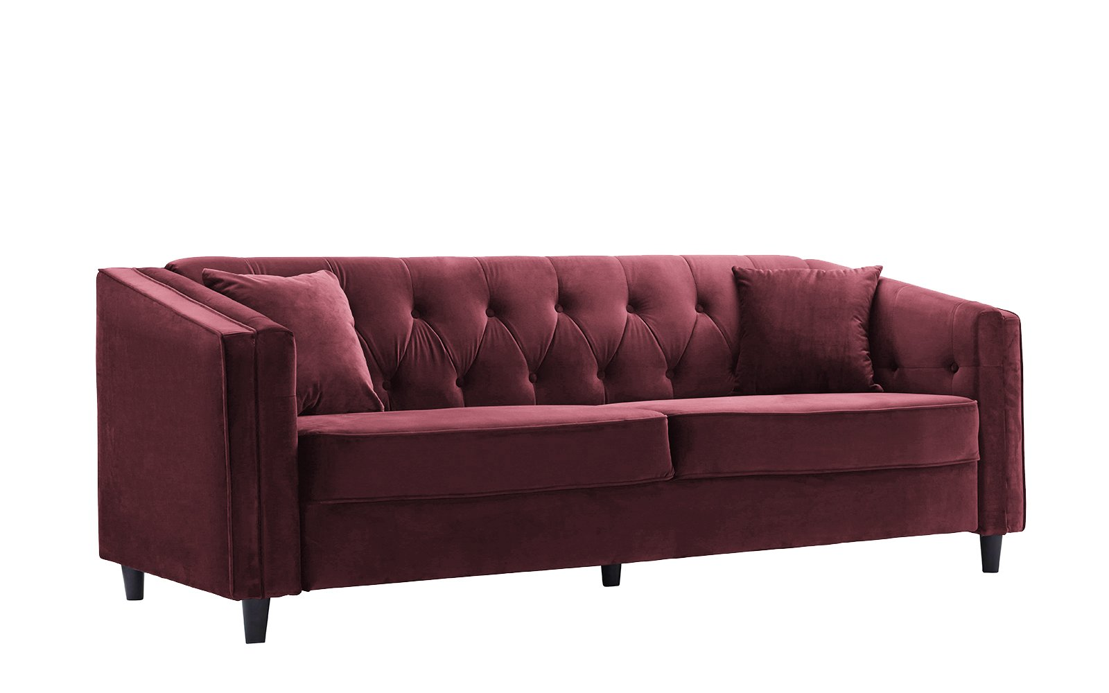Classic Victorian Style Tufted Velvet Sofa, Living Room Couch with Tufted Buttons (Maroon) - Classic tufted sofa with a club style frame, button details and includes 2 decorative pillows in the same fabric. Upholstered in soft hand chosen velvet fabric on a hardwood frame with dark wooden Mid-century style legs. Seat and back cushions are filled with high density foam to provide plush yet firm comfort for long lasting use. - sofas-couches, living-room-furniture, living-room - 61HItPyaPrL -
