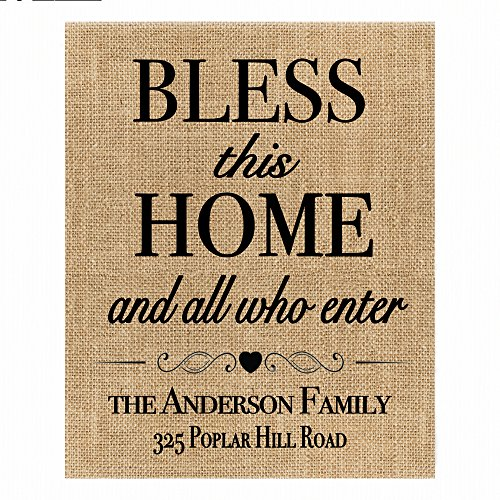 ♥ Bless This Home And All Who Enter | Personalized Burlap Print | Housewarming Gift | New Home Closing Gift Burlap Gift ♥ (Wording Announcement Wedding Invitation)