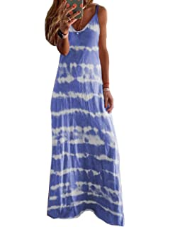Limsea Plus Size Dresses for Women 2020 Summer Sleeveless V-Neck Tie-dye Printed Long Maxi Dress Tunic Tank Dress