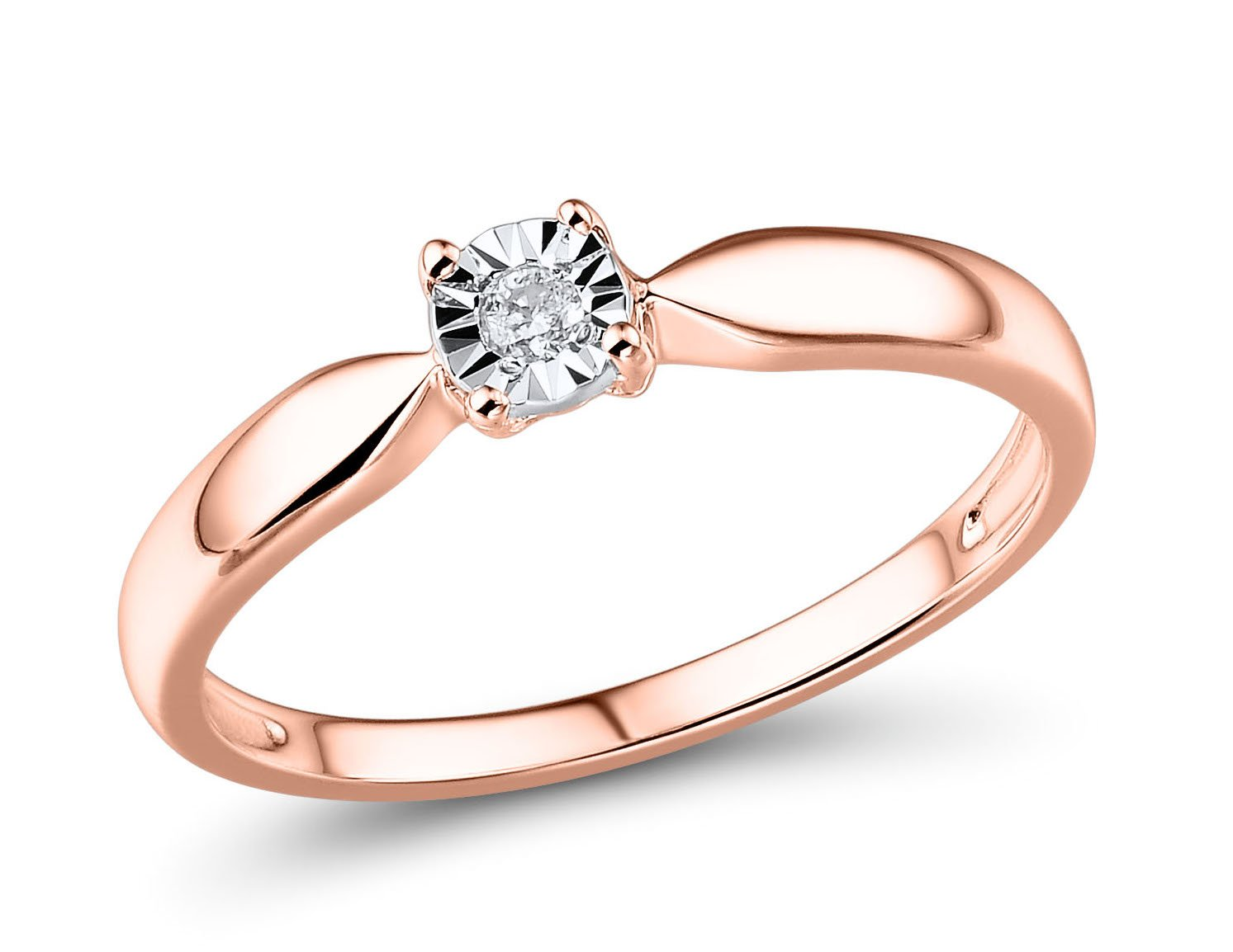 Diamond Promise Ring in 10k Rose Gold and Rhodium Plated 10k White Gold