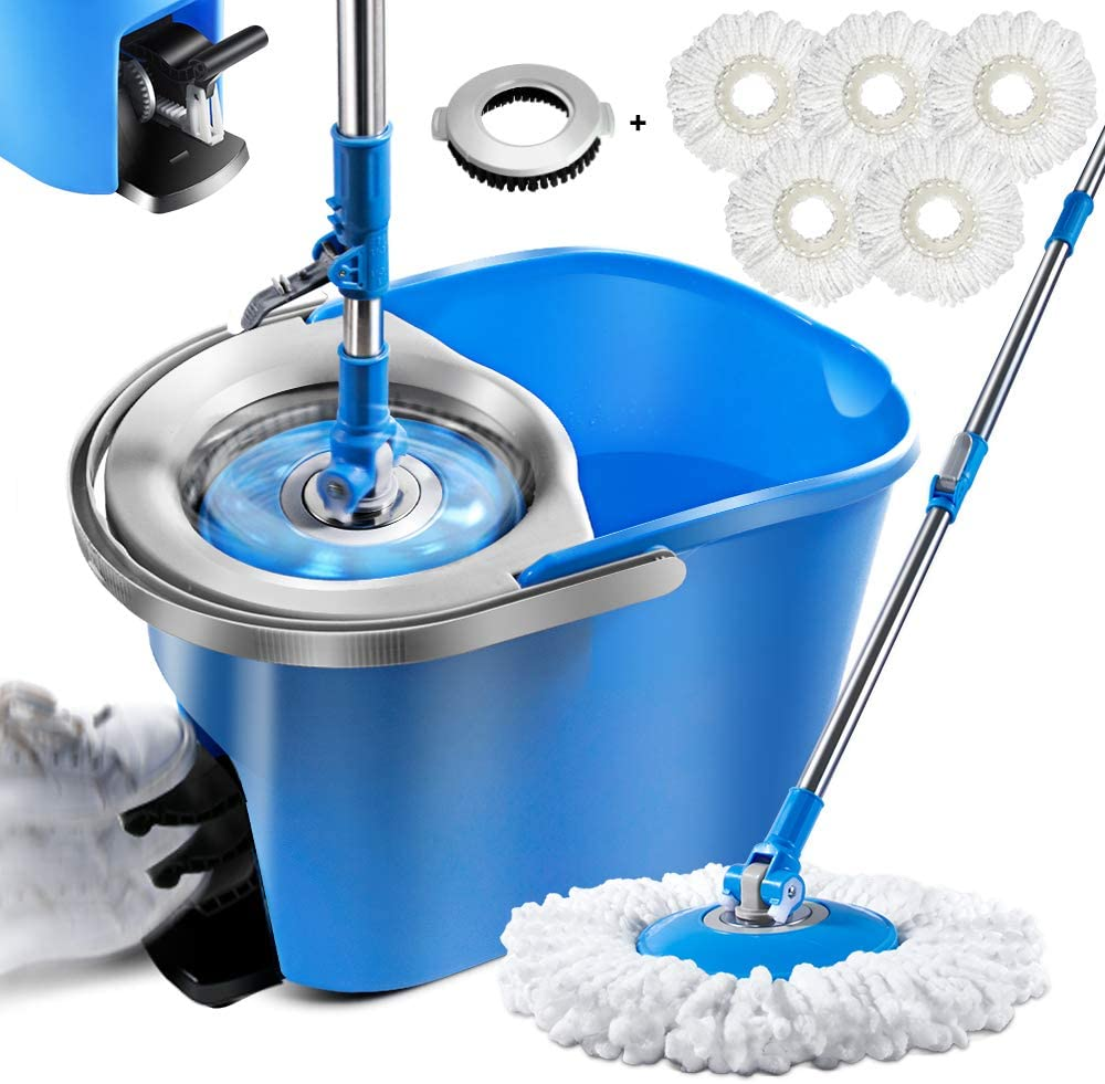 Spin mop Bucket System Double Bucket Spin mops with Bucket and Foot Pedal 360 Spin mop and Bucket System with 5Pcs Pads and 1 Brush 8L mop and Bucket with Wringer Set
