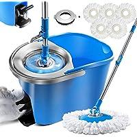 Magic Spin Mop and Bucket Set with 5 Pcs Refill Mop Pads 1Pcs Brush Head Foot Pedal Microfiber Mop