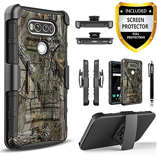 LG V20 Case, Dual Layers [Combo Holster] Case and Built-in Kickstand Bundled with [Premium Screen Protector] Hybird Shockproof and Circlemalls Stylus Pen for LG V20(Camo)