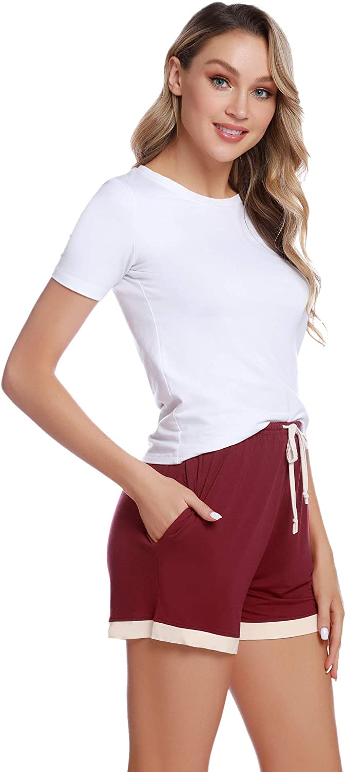 Pajama Trousers Women for Sleeping Casual Pants Yoga Gym Running Aibrou Womens Pyjama Shorts Ladies Cotton Short Bottoms Shorts Lounge with Draw String Pockets