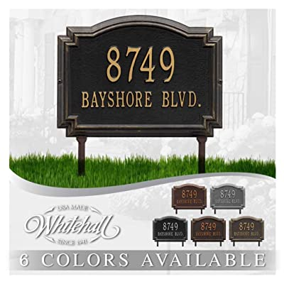 Metal Address Plaque Personalized Cast Lawn Mounted Williamsburg Plaque. Display Your Address and Street Name. Custom House Number Sign. : Garden & Outdoor
