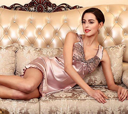 ZC&J La Sra verano de la ropa interior del V-cuello faldas que cuelgan ropa de dormir pijamas de seda femeninos de la falda / baño,purple,L Purple