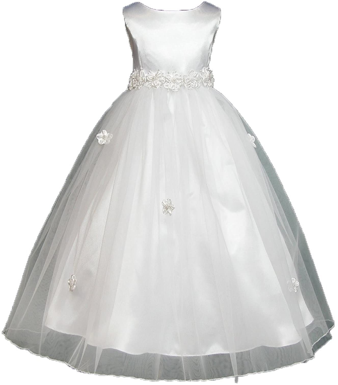 Angela Flower Girl First Holy Communion Dress Bridesmaid Wedding White Choose Sz