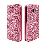 ClarksZone S8 Case Sequins Glitter Wallet Case with [Card Slots] [Stand Feature] Protective PU Leather Cover + Soft TPU Shock Absorption Inner Case for Samsung Galaxy S8
