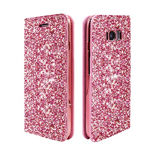 ClarksZone S8 Case Sequins Glitter Wallet Case with [Card Slots] [Stand Feature] Protective PU Leather Cover + Soft TPU Shock Absorption Inner Case for Samsung Galaxy S8 by ClarksZone