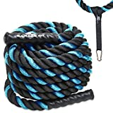 "Poly Dacron Battle Rope - Workout Rope - Exercise Ropes - Training Ropes - Battle Ropes - Undulation Ropes - Great for Your Rope Workout (Blue, 1.5"" x 30 feet)"