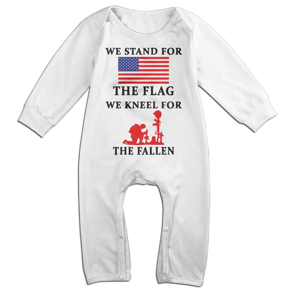 Mri-le1 Baby Girl Bodysuits Stand for The Flag Infant Long Sleeve Romper Jumpsuit