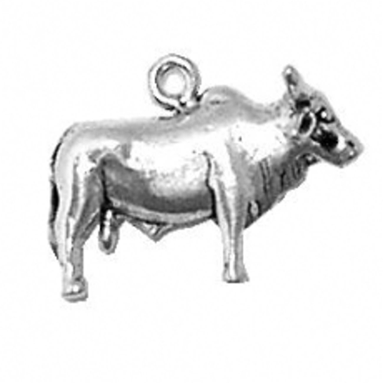 Sterling Silver Girls .8mm Box Chain 3D Brahma Bull Cow Pendant Necklace