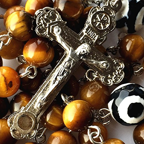 elegantmedical HANDMADE Yellow Tiger Eye Beads & dzi bead Rosary Cross CRUCIFIX CATHOLIC NECKLACE BOX Mens Womens GIFTS
