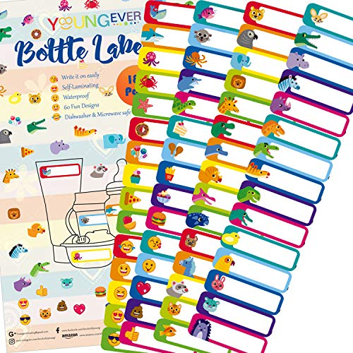 180 Pcs Baby Bottle Labels for Daycare, Waterproof, Self-Lamination, Write-on, Fun Design -