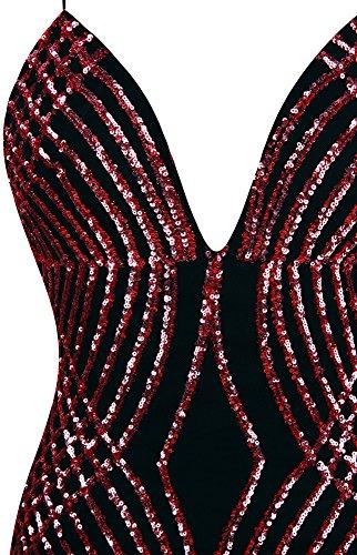 Abito Spaghetti lustrino ballo da scollo donna Sirena Rosso fashions Lungo Strap Angel a V vx16REq