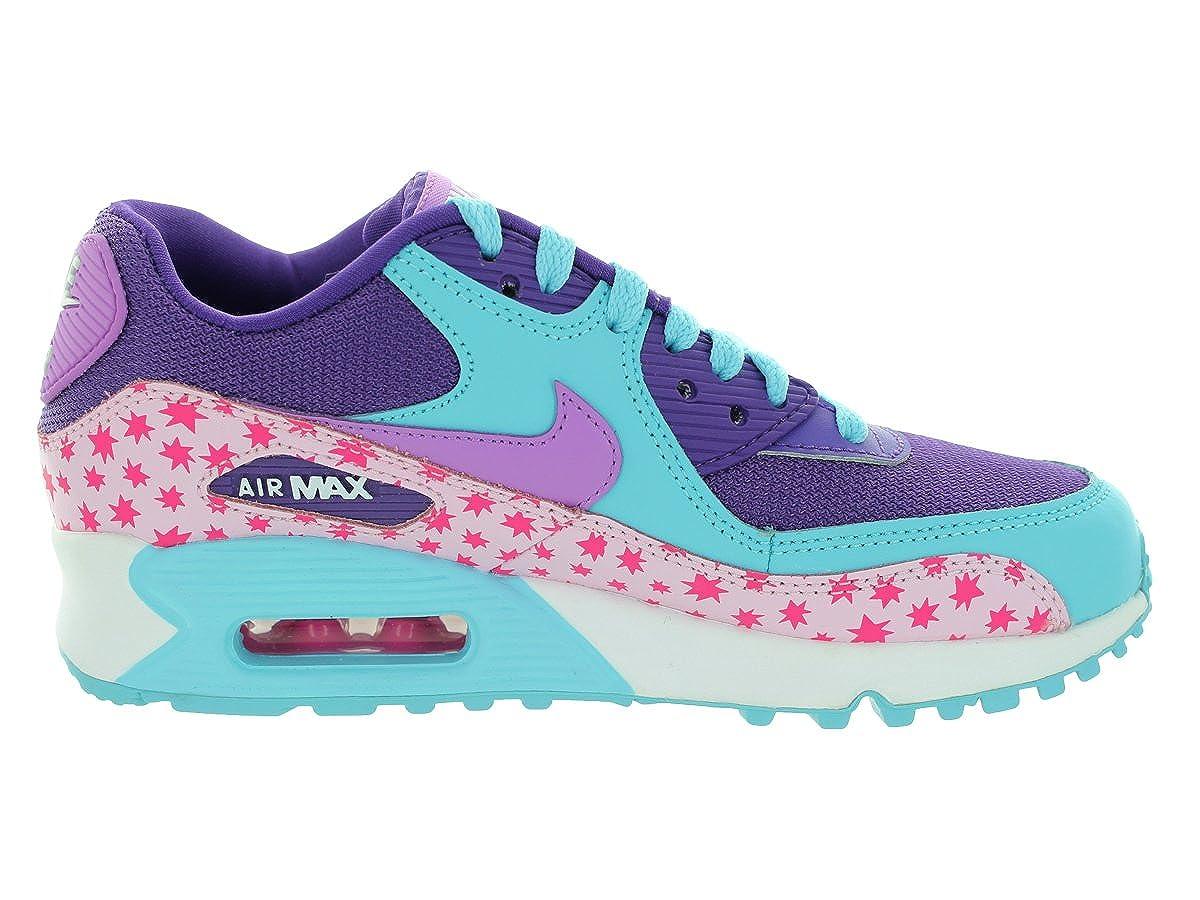 Nike Kids Air Max 90 Prem Mesh (GS) Prsm PinkTd Pl BlFchs GlwPnk Running Shoe 6 Women US