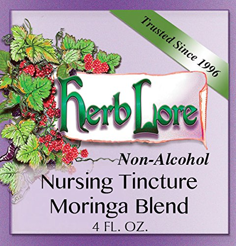 Herb Lore Organic Nursing Tea Tincture With Moringa. Sweet Glycerine Base, 4 Ounces, Lactation Tea Helps Increase Breast Milk Supply Naturally And Calms Colic And Gas in Baby and Mama
