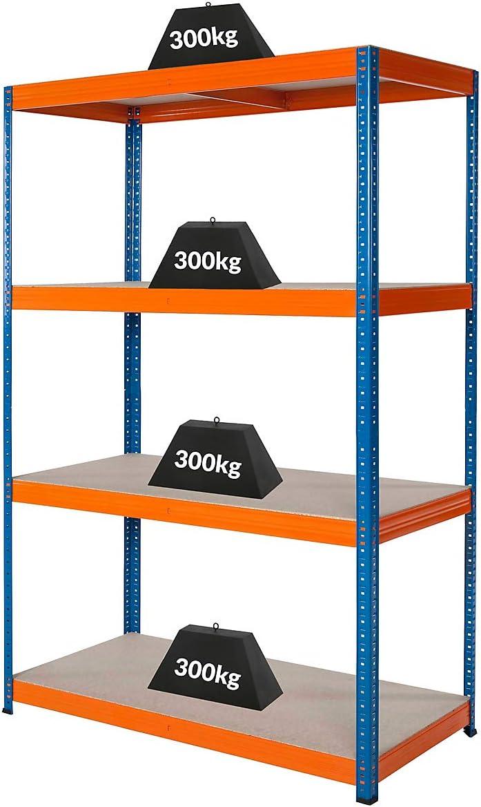 Charge maximale de 300 kg par /étag/ère Rayonnage m/étallique 180 x 120 x 60 cm Profondeur 60 cm HxLxP Certeo Rayonnage datelier Charge totale acceptable 1200 kg