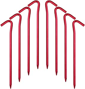 Hikemax 7075 Aluminum Tent Stakes 10/15/20 Pack - Ultralight 7 Inch Hook Tent Pegs with Carrying Pouch - Made for Camping Trip, Hiking and Gardening