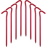 Hikemax 7075 Aluminum Tent Stakes 10/15 Pack - Ultralight 7 Inch Hook Tent Pegs with Carrying Pouch - Made for Camping Trip,