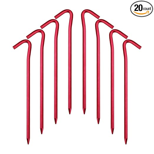 Hikemax 7075 Aluminum Tent Stakes with Carrying Pouch - Ultralight 7