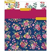 "bloom daily planners File Folders - Set of Six 8.5"" x 11"" Folders - Vintage Floral"