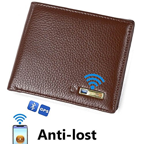 Smart LB Smart Anti-Lost Wallet with Alarm, GPS Tracking, Bluetooth, Bifold Cowhide Leather Purse for Men and Women (Brown)