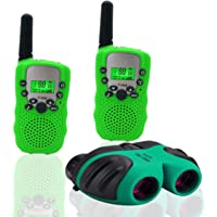 YYhappy childhood Toys for 4-5 Year Old Boys Long Range Walkie Talkies for Kids and Compact Telescope Boys Gifts 4-8 Year Old to Bird Watching,Outdoor Toys Games Green