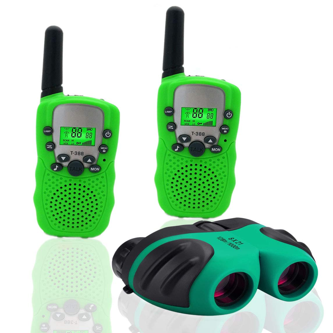 BIBOYELF Toys for 4-5 Year Old Boys,Long Range Walkie Talkies for Kids and Compact Telescope Boys Gifts 4-8 Year Old to Bird Watching,Outdoor Toys Games Gifts for 3-12 Year Old Boys Presents,Green by BIBOYELF (Image #1)