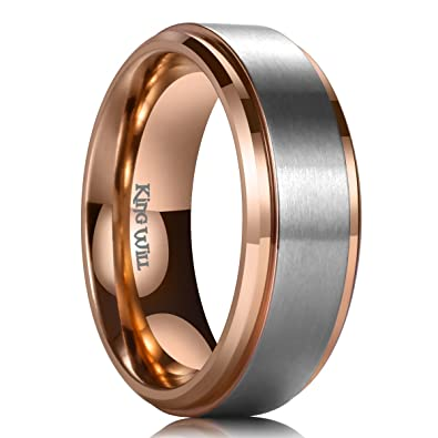Wedding Band For Men.King Will Duo 7mm Titanium Wedding Band For Men Rose Gold Plated Beveled Polished Comfort Fit