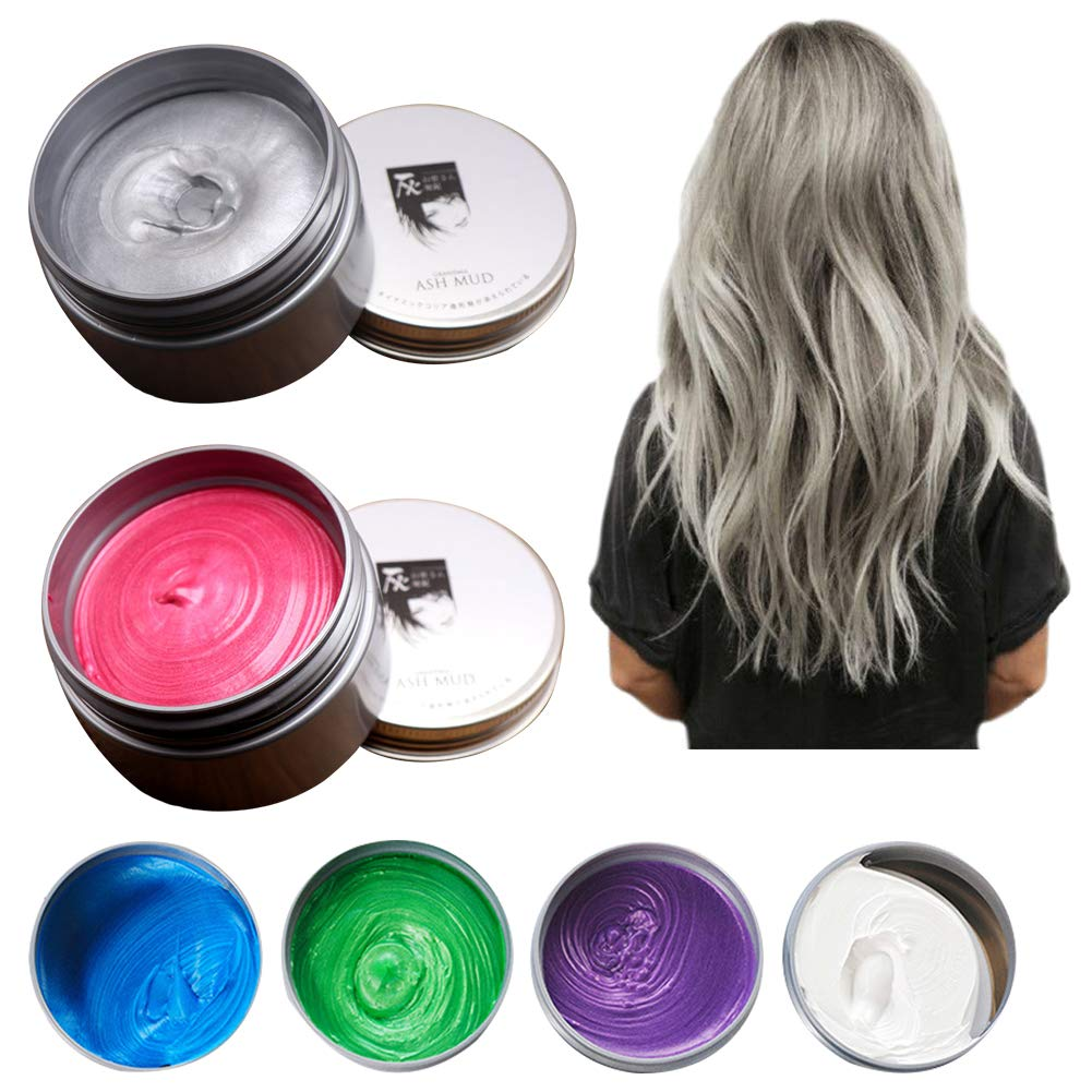 Hair Color Wax/Dye Cream - Disposable Instant Washable Hairstyle Mud - Temporary Pomade Styling Tools for Kids Adults Hair DIY/Cosplay/Party/Halloween 4.23 OZ (Blue) ASH_ CA Market