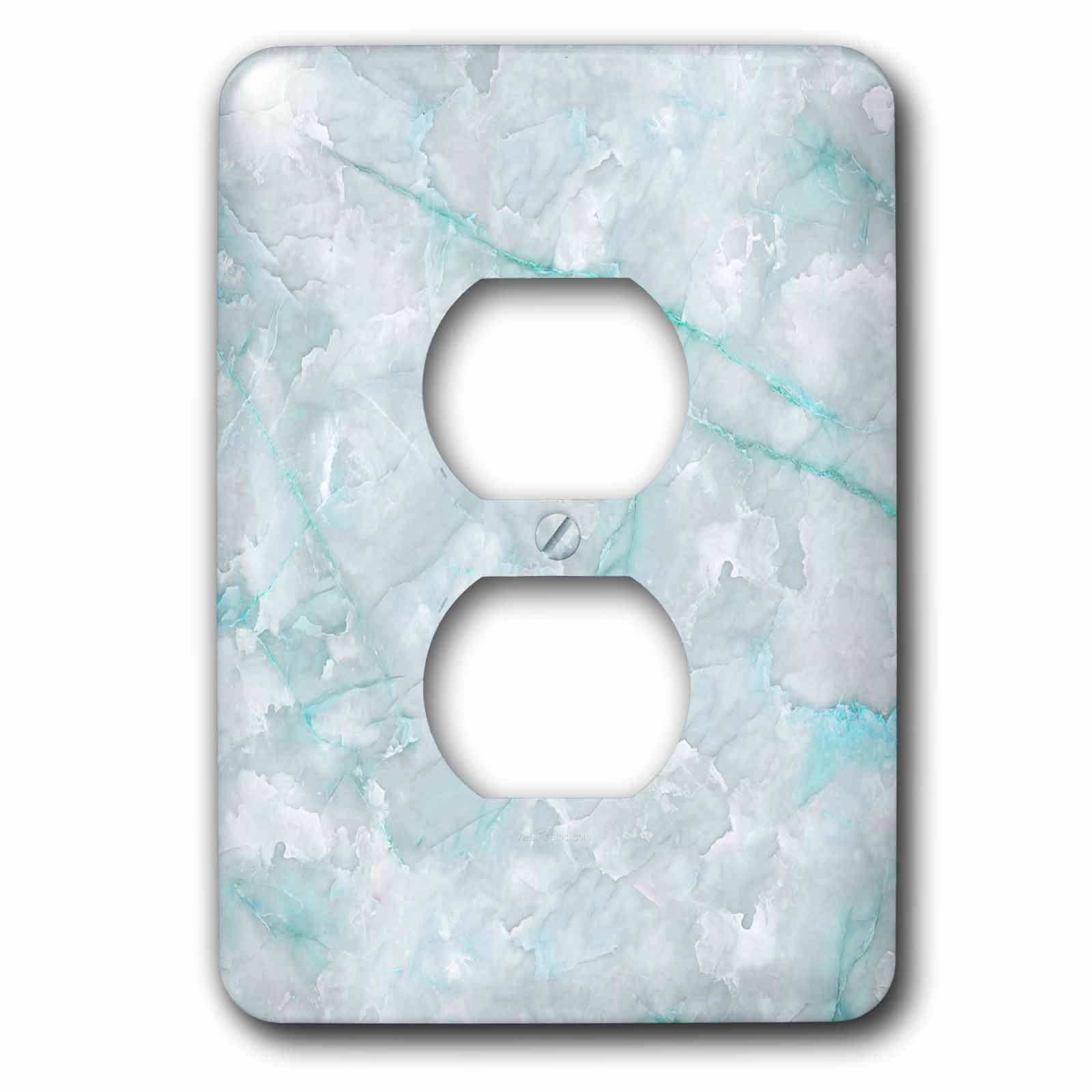 3dRose LSP_275124_6 Image of Trendy Luxury Aqua Teal Quartz and Gray Gemstone Agate Geode Plug Outlet Cover, Mixed