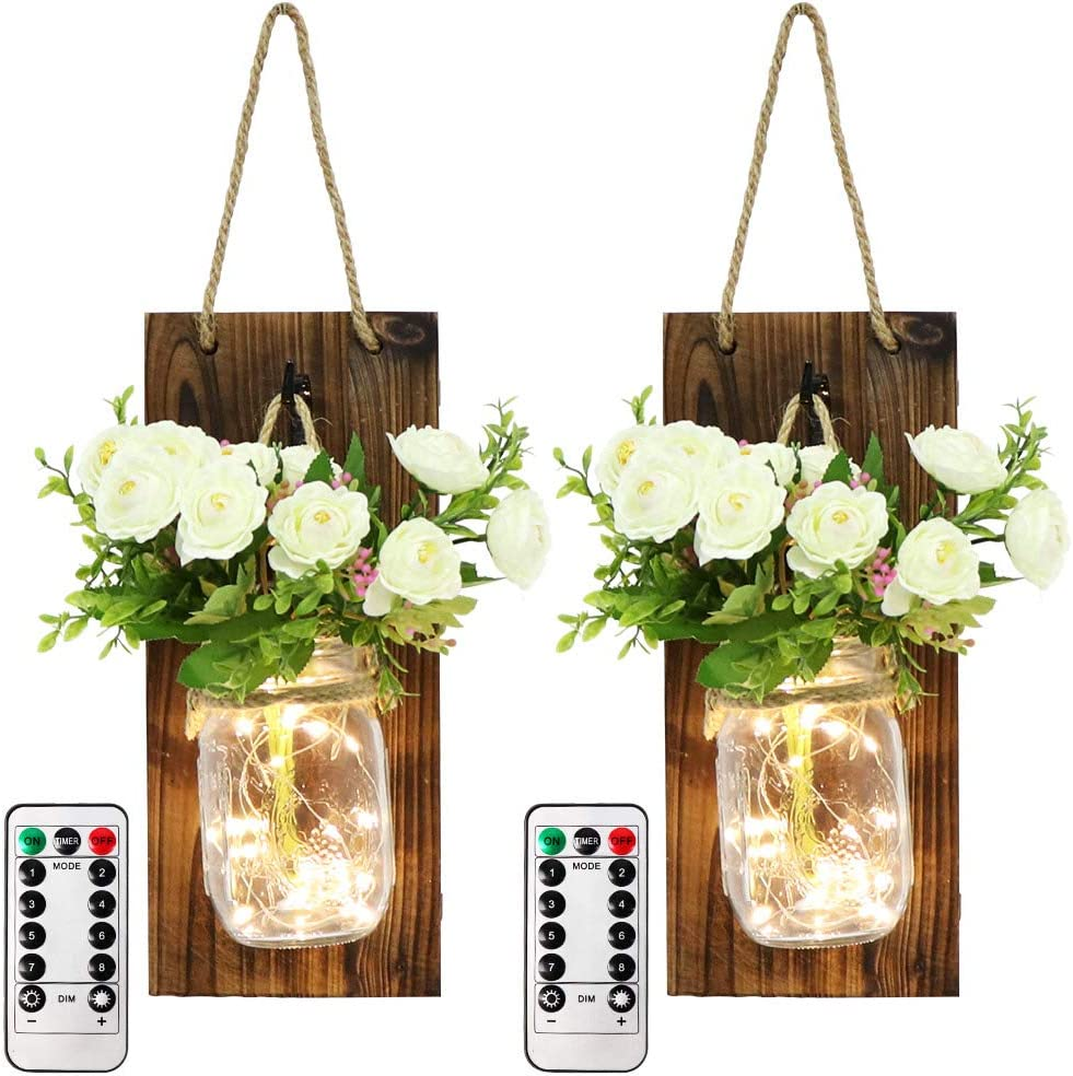 OurWarm 2pcs Mason Jar Sconces Wall Decor, Rustic Wall Sconces Home Decor with LED Fairy Lights and Flowers, Handmade Hanging Mason Jars for Farmhouse Kitchen Living Room House Decorations Lights
