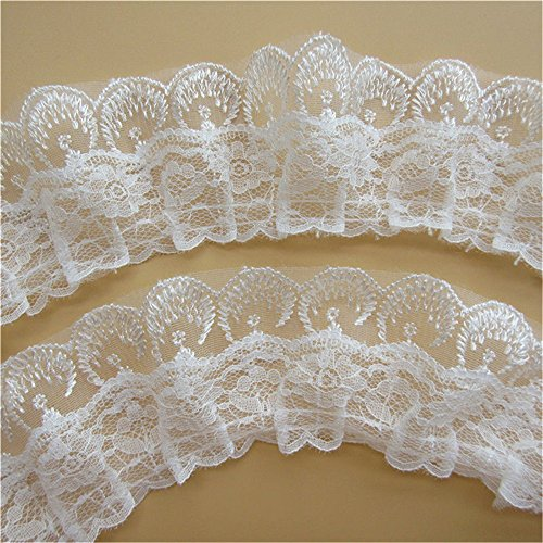 4 Yard Double Candlewick Ruffle Lace Edge Trim Ribbon Vintage Style White Edging Trimmings Fabric Embroidered Applique Sewing Craft Wedding Bridal Dress Party Home DIY Decoration(6cm(2.36