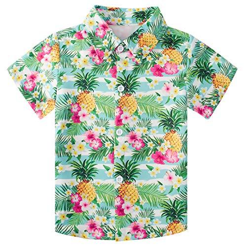 RAISEVERN Boys Hawaiian Shirts Button Down Top Cool Tropical Floral Pineapple Dress Short Sleeve Shirt for Kids(5-6T) (Hawaiian Boys)