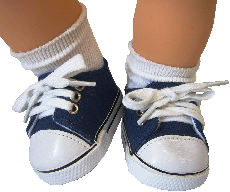 """Baby Doll NAVY BLUE Canvas Sneaker fit 15/"""" Baby Girl Bitty Doll"""