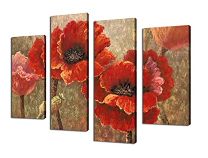 Amazon.com: Canvas Wall Art Red Poppy Abstract Painting Prints on ...